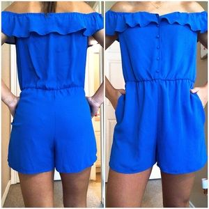 Royal blue romper off the shoulder